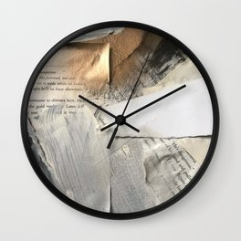 Too Soon | Collage Series 1 | mixed-media piece in gold, black and white + book pages Wall Clock