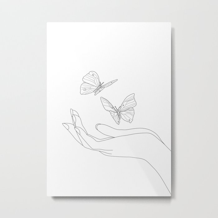 Butterflies on the Palm of the Hand Metal Print