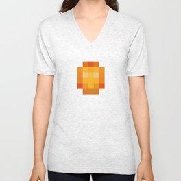 hero pixel red yellow Unisex V-Neck