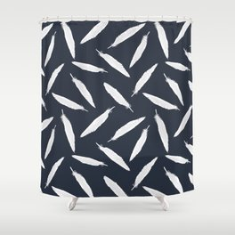 Sketchy White Bird Feather Seamless Vector Pattern Background Shower Curtain