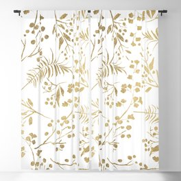 Elegant modern white faux gold floral Blackout Curtain