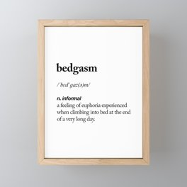 Bedgasm black and white contemporary minimalism typography design home wall decor bedroom Framed Mini Art Print