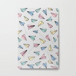 Paper Planes in Pastel Metal Print