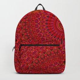 Red Lace Ornament Mandala Backpack