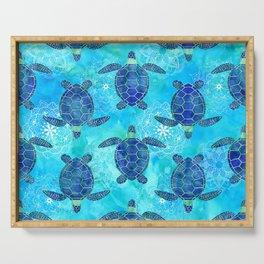 Watercolor Sea Turtles Mandalas Pattern Serving Tray