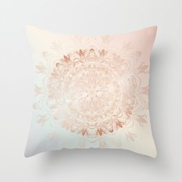 Rose Gold Blush Mint Floral Mandala Throw Pillow