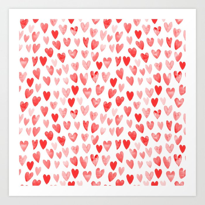 Watercolor heart pattern perfect gift to say i love you on valentines day Kunstdrucke