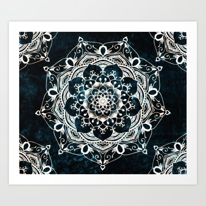 Glowing Spirit Mandala Blue White Bohemian Hippie Zen Indian Yoga Mantra Meditation Art Print