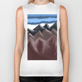 digital mountains painting Biker Tank