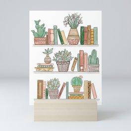 Books and Plants Mini Art Print