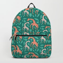 Pink Dancing Giraffes on Teal Green Backpack