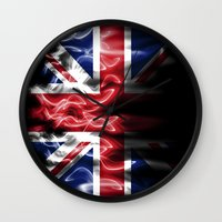 british flag Wall Clocks featuring British flames  by Cozmic Photos