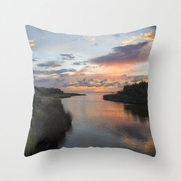 Sound Side Sunset Throw Pillow