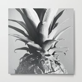 Silver Pineapple Metal Print