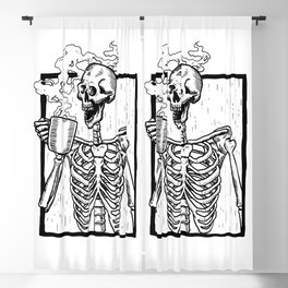 Skeleton Drinking a Cup of Coffee Blackout Curtain