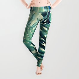 Tropical, Jungle, Palm Leaves, Watercolor Abstract, Blue and Green Leggings