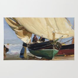 Fishermen Beached Boat, Valencia - Joaquín Sorolla  Rug