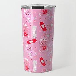 Menhera Nurses on Pink Featuring bears and bandages Travel Mug