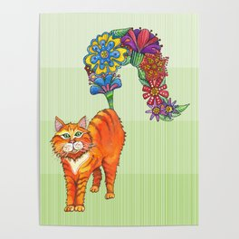 A Cat Sprouting Flowers Poster