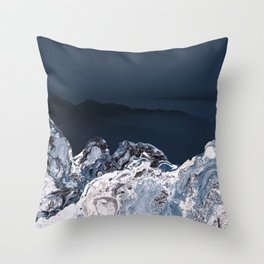 BLUE MARBLED MOUNTAINS Throw Pillow