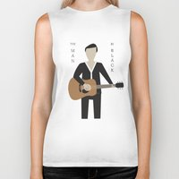 johnny cash Biker Tanks featuring Johnny Cash by Sarah Duet