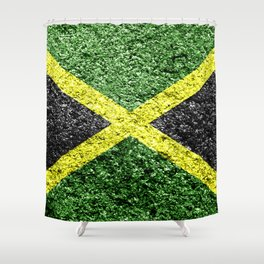 Jamaica Flag Distressed Shower Curtain