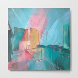 Blue Shapes Pink Glares, 609. Metal Print