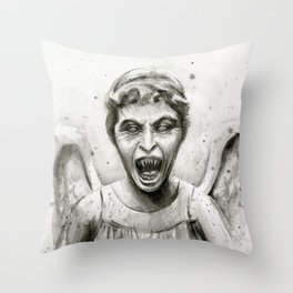 Weeping Angel Watercolor Throw Pillow