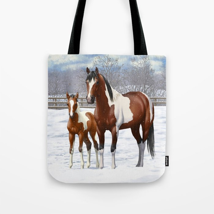 Bay Paint Horse Mare and Foal In Winter Tote Bag