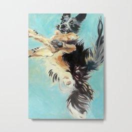 Let's Fly Border Collie Dog Portrait Metal Print