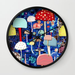 Blue Mushrooms - Zu hause Marine blue Abstract Art Wall Clock