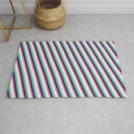 Vibrant Light Blue, Sea Green, Indigo, Light Coral & Mint Cream Colored Striped/Lined Pattern Rug
