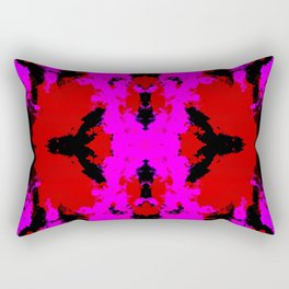 Ichisaio - Pink Red Black Abstract Batik Camouflage Tie-Dye Style Pattern Rectangular Pillow