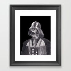 Darth Vader [Grayscale on Black] Pencil Framed Art Print