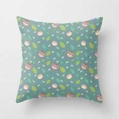 Sloth and Leaf Pattern Throw Pillow