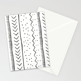 Moroccan Stripe in Cream and Black Stationery Cards