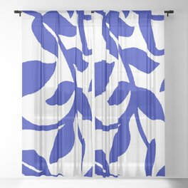 PALM LEAF VINE SWIRL BLUE AND WHITE PATTERN Sheer Curtain