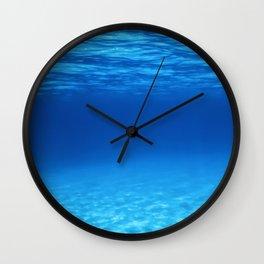 Underwater Blue Ocean, Sandy sea bottom Underwater background Wall Clock