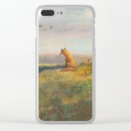 Red Fox Looks Out Over the Valley Clear iPhone Case