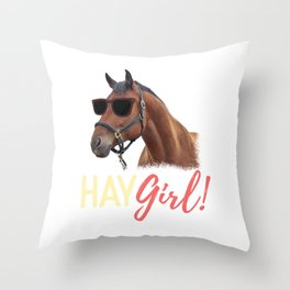Hay Girl Horse Lover Horseback Riding Throw Pillow