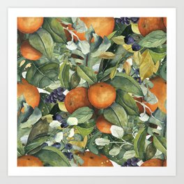 Orange Blossom Greenery Art Print