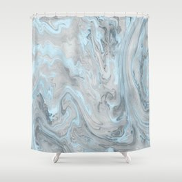 Ice Blue and Gray Marble Shower Curtain