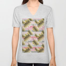 Tropical gold cheese leaves pastel color stripes Unisex V-Neck