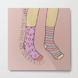 Mix Match Socks - Pink and Orange, Quote, Socks Illustration Metal Print