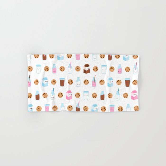 Milk and Cookies Pattern on White Hand & Bath Towel