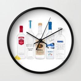 Vodka Bottles Illustration Wall Clock