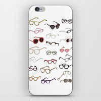 glasses iPhone & iPod Skins featuring glasses by Janaína Esmeraldo