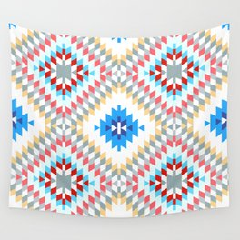 Colorful patchwork mosaic oriental kilim rug with traditional folk geometric ornament Wall Tapestry