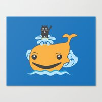 surfing Canvas Prints featuring Surfing by Hagu
