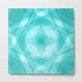 Vintage triangular strokes of intersecting sharp lines with azure triangles and a star. Metal Print